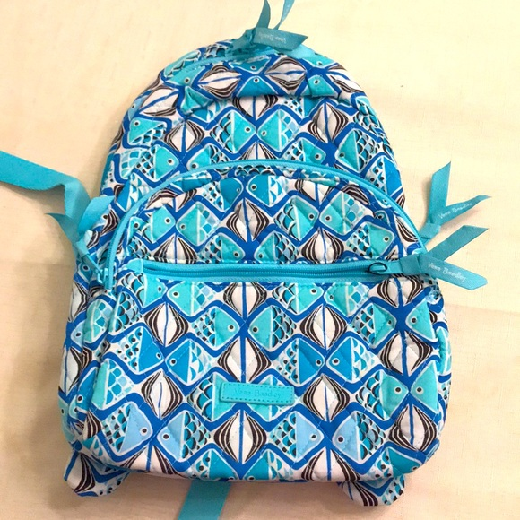 Vera Bradley Go Fish Blue Essential Compact BP NWT